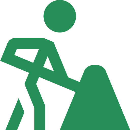An icon depicting a man using a shovel