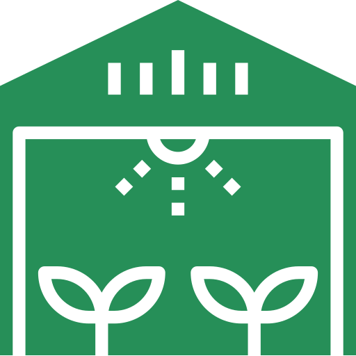 An icon depicting a greenhouse